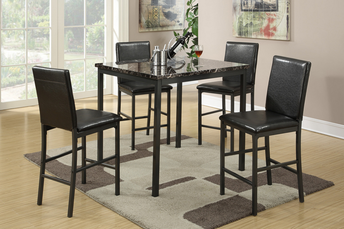 1101 Black Marble 5pc set counter height