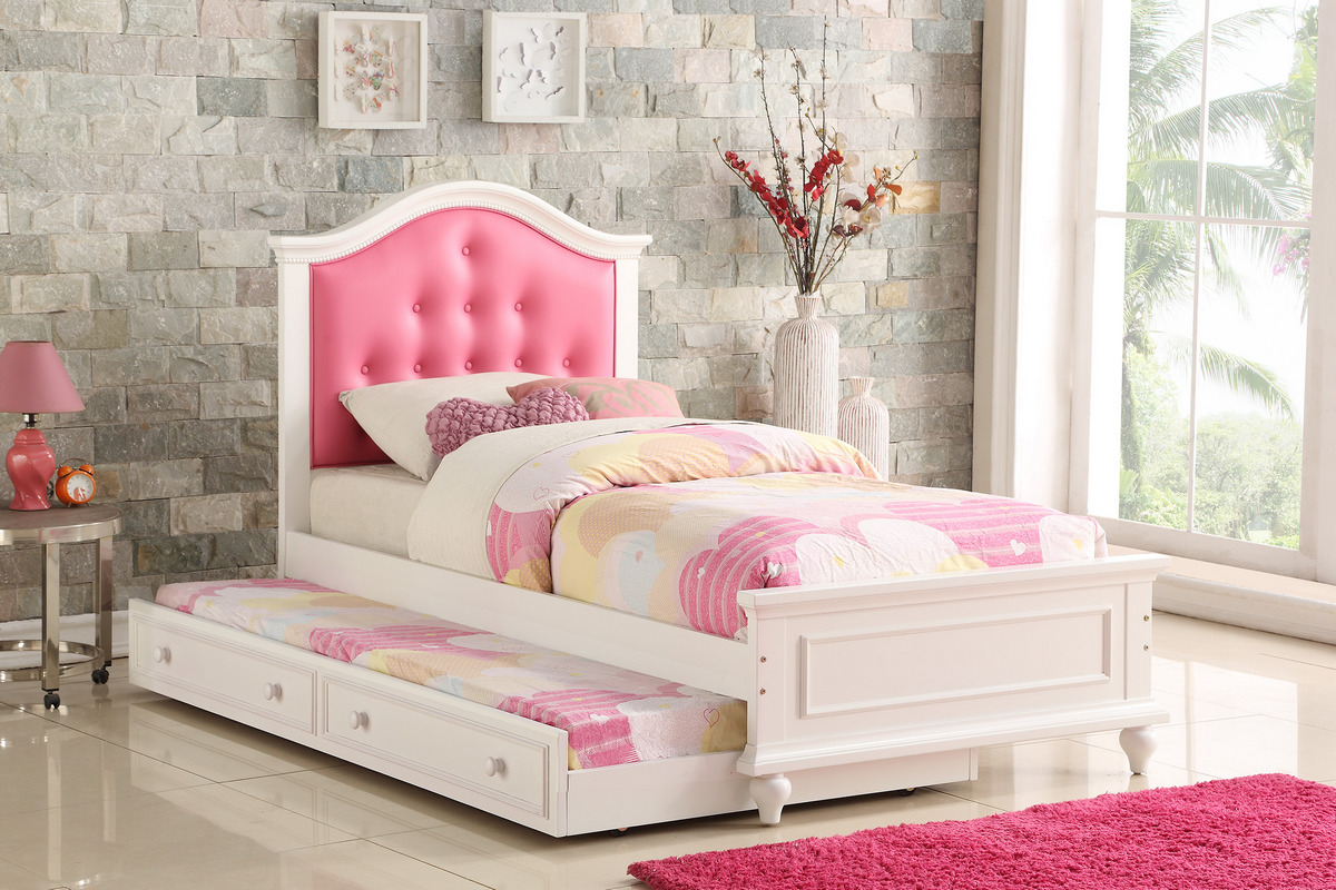 F9377 - Pink Wood Trundle Twin/Twin