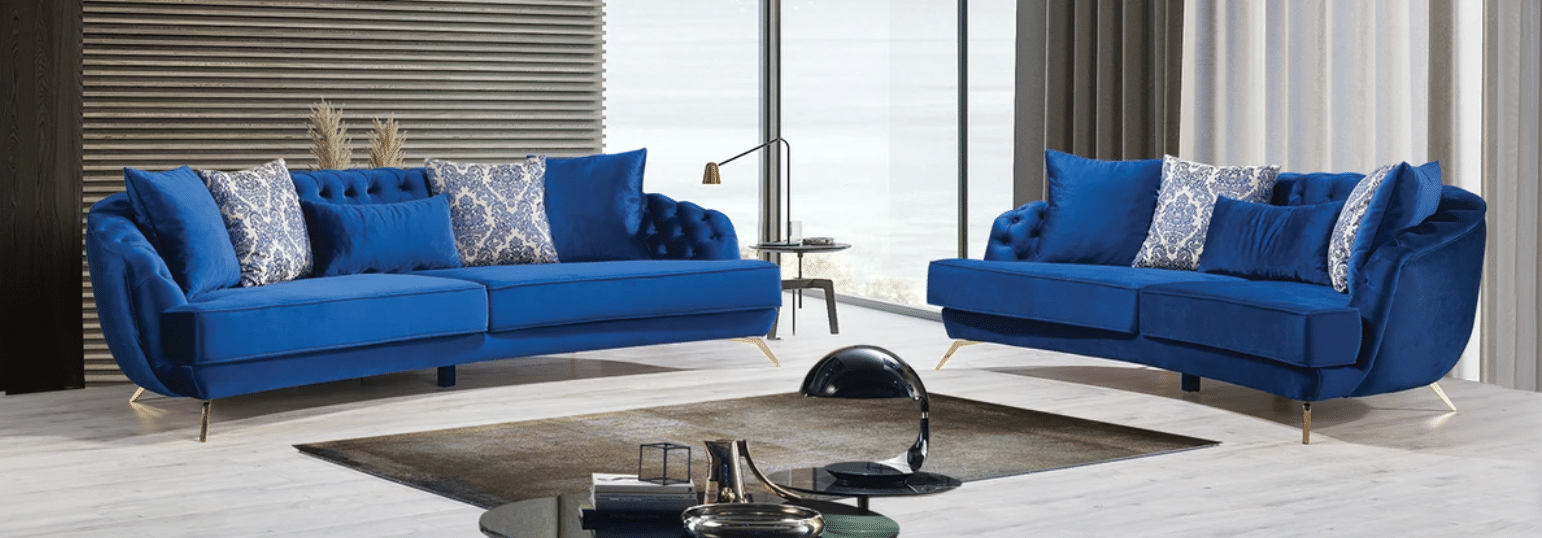 Loretta Blue Velvet Sofa & Loveseat