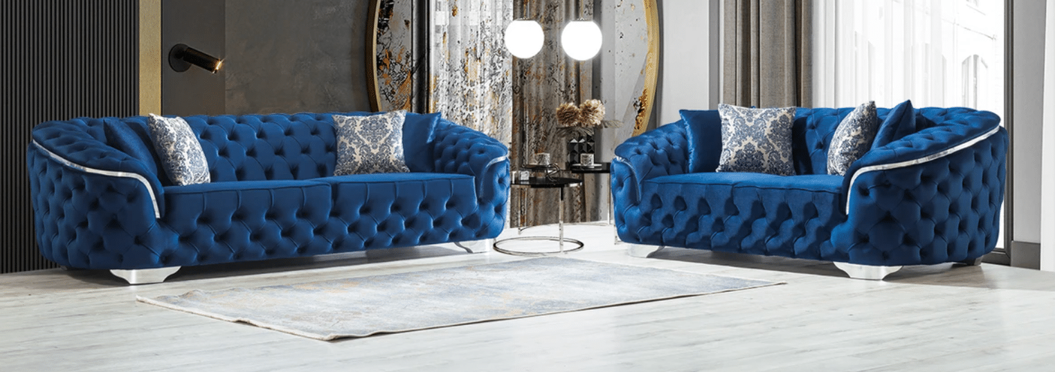 Lupino Blue Velvet Sofa & Loveseat