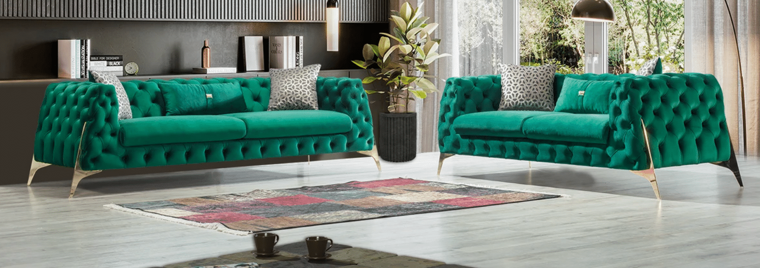 Iris Green Velvet Sofa & Loveseat