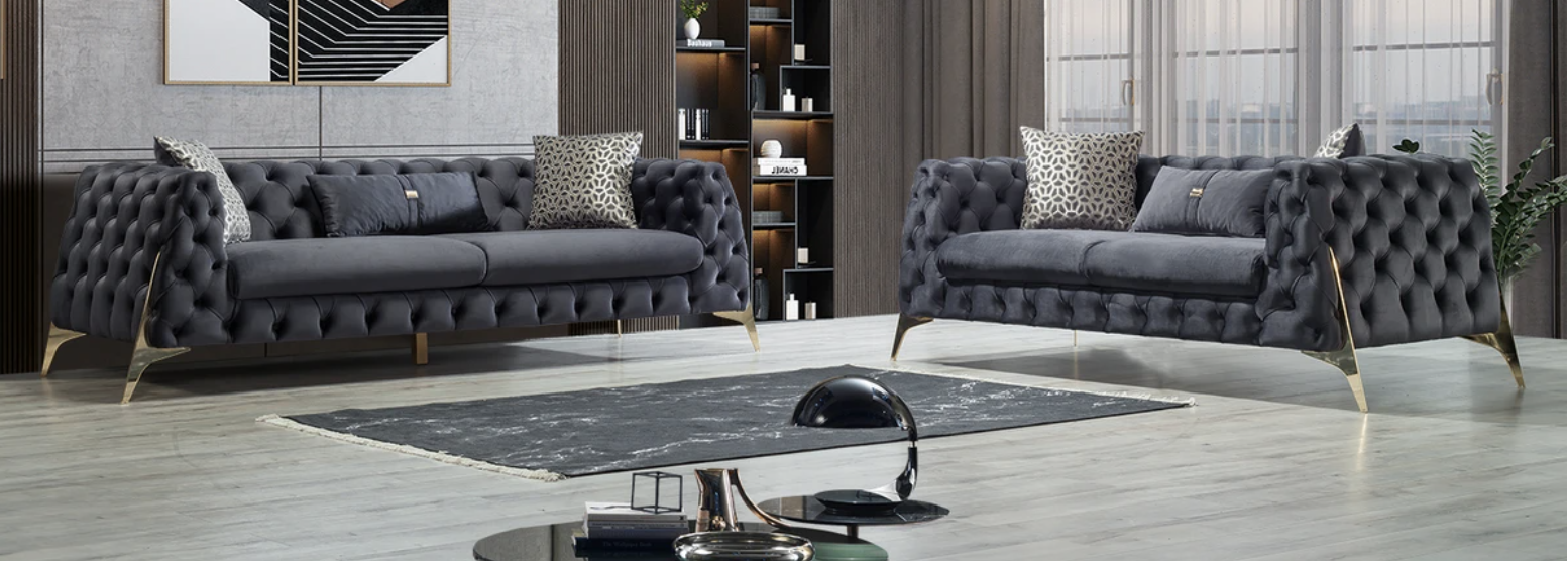 Iris Gray Velvet Sofa & Loveseat